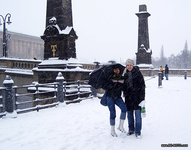 Rouhia and Elke enjoying the snow.