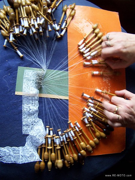 Hundreds of hours and thousands of knots are required to fabricate a piece of lace.