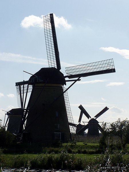 Windmills are used to drain the water from a piece of land, mainly to use it for agricultural purposes.