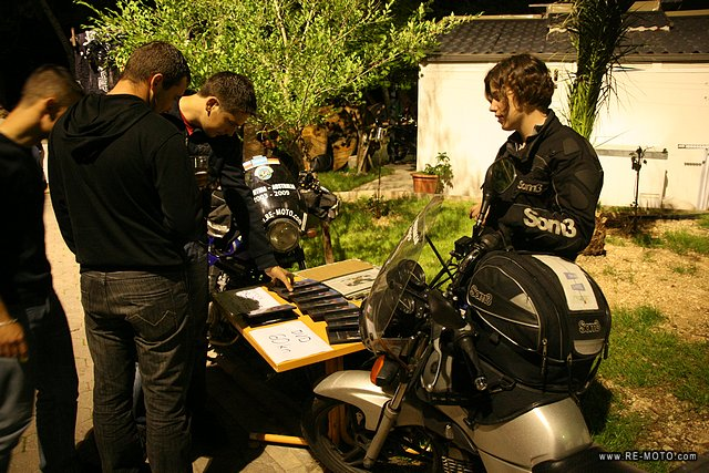 Selling DVDs at a motorcycle meeting in Makarska.
