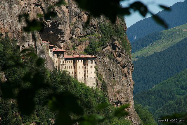 The Sumela monastery is constructed on a mountainside.