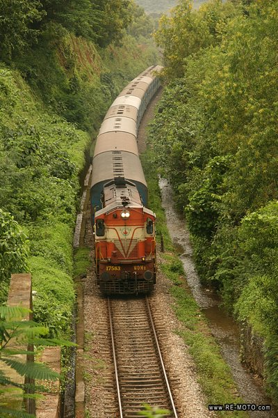 One of the famous trains of India, crossing Goa, the only state which was colonized by the Portuguese.